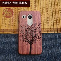 Wholesale Engrave Wood Cover - For LG Google Nexus 5x Wooden Cover Case Covers handmade Wood Engraving Hard Phone Cases Luxury Bamboo For LG Nexus 5x Back Shell