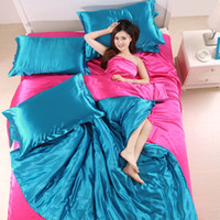Wholesale Pure Silk Duvet Cover - Luxury Silk Satin two color bedding set Pure color queen size bed sheet x1 duvet cover x1 pillowcase x2 bedding article free shipping