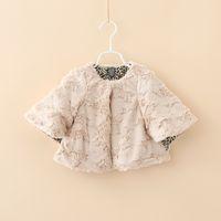 Wholesale Half Neck Fur Jackets - Girls Faux Fur Poncho Kids Christmas Clothing 2016 Autumn Winter Shawl Fashion Thick Cardigan Leopard Lining Children's Cape Jackets MK-790