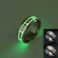 Wholesale ring fluorescent light - Batman Ring Stainless Steel Fluorescent Glowing Light Finger Rings Band Glow In The Dark Gold Silver Pattern Rings Jewelry DROP SHIP 080252