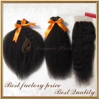 yaki remy haare großhandel-FREIES Verschiffen indisches remy Haar verworrene gerade 3pcs Haarwebart mit 1pc Spitzespitzenverschluß natürlicher Farbe grobes yaki 4 PC-Los