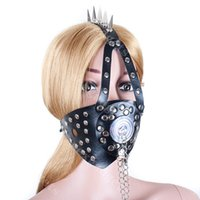 Wholesale transparent bondage - spiked harness mouth bite ring gag with transparent cover bdsm bondage Gear slave gags adults sex toys for women ASL-KQ0022