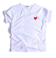 Wholesale Japan Embroidery - Designer summer Play cotton t-shirts Women Men Simple Japan Tide brand Love Embroidery Red heart Wave point Classical short Sleeve T-shirts