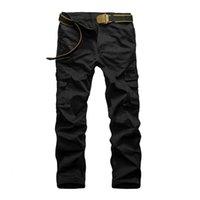 Wholesale Mens Camouflage Combat Trousers - Wholesale-Men Outdoor Cotton Combat Multi-Pockets Khaki Casual Loose Long Full Length Cargo Pants Mens Work Trousers Camouflage Large Size