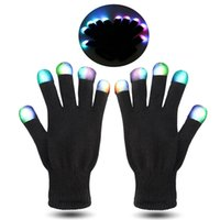 Wholesale Party Flash Toys Led - NEWEST Hallowmas led gloves Flash Color changing LED Glove Rave light led finger light gloves light up glove For Party favor music concert