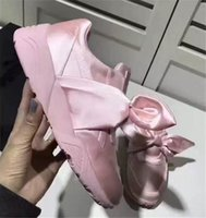 Cheap powder pink wedding dress - 2017 new hot fenty X silk bow shoes powder pink  green Rihanna Silk casual shoes with box and box free shipping 36-40