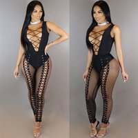 Wholesale Bandage Transparent - 2017 Sexy Women Deep V Neck Corn Lace Up Bandage Sleeveless Mesh Patchwork Transparent See Through Bodysuit Long Jumpsuits Bodycon Rompers