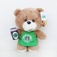 Wholesale Ted Plush Doll - Hot Selling Cute Ted Beer Plush Doll 6pcs lot plush toys Stuffed bear Toy with Apron For Baby Christmas promotional Gifts Free shipping