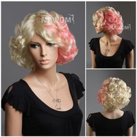 Wholesale Lady Gaga Cosplay - W3600 Lady gaga Short Blonde Curly Kanekalon Synthetic Hair Wigs Cosplay Hairpiece 13inch 100g Adjustable Cap Size