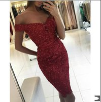 2017 New Sexy Arabic Off The Shoulder Lace Hülle Cocktailkleider Beaded Mantel Knielänge Kurze Party Abend Prom Kleider