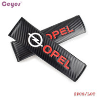 Wholesale Opel Astra H - Carbon Fiber Safety Belt Cover for Opel astra g h insignia mokka vectra zafira corsa Seat Belt Cover Car Styling 2pcs lot