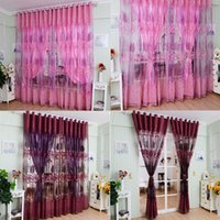 Wholesale Voile Lace Curtains - 1Pc Luxurious Upscale Jacquard Yarn Curtains Tulle Voile Door Pink Purple Window Curtains Syeer Sheer Curtains E00619