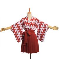 Wholesale Cosplay Kimono Black Dress - Japan Style Kimono Outfit Cute Women Hari Kimono Pleated Skirt Koinobori Haori Set Daily Wear Cosplay Clothes