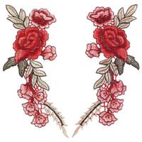 ingrosso bellissimi abiti ricamati-2pcs bella rosa fiore floreale collare cucire patch applique distintivo ricamato busto vestito mestiere fatto a mano ornamento adesivo in tessuto