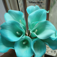 "Wholesale Orange Calla Lilies - 100pcs 21 colors Real Touch 15"" Artificial calla lily Flower Bouquet Turquoise White mini calla Lily bridal bouquet Wedding Decoration Color"