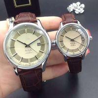 Wholesale Complete Couples - New Silver Case Couple Women Men Watch Luxury watches Calendar Calibration Dial Leather Strap Quartz Wristwatch for Men lady gift 2017