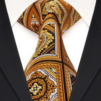 Wholesale Grid Wool - Wholesale F17 Yellow Black White Orange Checked Floral Mens Ties Neckties 100% Silk Jacquard Woven Classy