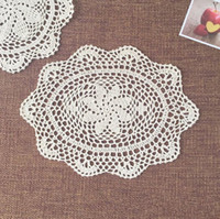 100% Cotton oval crochet doily patterns - 26x42cm Set of Hand crocheted Oval coasters Chic pattern doilies for home decor centerpieces for wedding Vintage style table mats