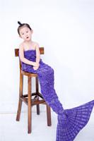 Wholesale Princess Kids Beds - Kids Bedding Sofa Mermaid Blanket Wool Knitting Fish Style Little Tail Blankets Warm Sleeping Child Kids Princess Loves Gift