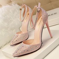 Wholesale Thin Beautiful Wedding Dresses - Beautiful Rhinestone Summer Lady Dress Shoes Women Pointed Toe Thin High Heels Party Festival Wedding Shoes PU Leather Women Pumps W16S056