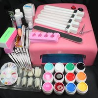 Wholesale Gel Nails Set Lamp 36w - Pro 36W UV GEL Pink Lamp & 12 Color UV Gel Practice Fingers Cutter Nail Art DIY Tool Kits Sets #23set