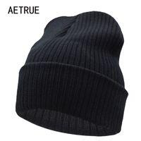 Wholesale Acrylic Blanks - Beanies Winter Hat For Men Knitted Hat Women Winter Hats For Women Men Knit Caps Blank Casual Wool Warm Flat Bonnet Beanie 2018