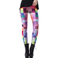 Wholesale Elephant Leggings - Wholesale- DOUBLA Womens Elastic High Waist Digital 3D Printed Leggings 2017 Girl Pants Plaid Cloud Wolf Elephant Costume Plus Size 3XL