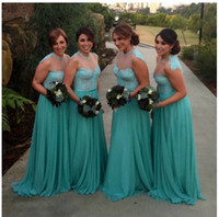 2016 Aqua Bridesmaid Dress Long Sheer Collar Lace Chiffon Beach Garden Junior Maid Of Honor Пром платье свадебное вечернее платье Дешевые