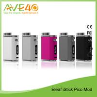 Wholesale Pico Battery - Original Eleaf iStick Pico Starter Kit iStick Pico 75w TC Mod Powered by Single 18650 Battery with Melo III Mini Atomizer Multi Modes