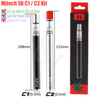 Wholesale Disposable For Single - Original Mjtech 5S C1 C2 Vape Pen for Thick Oil Cartridges O pen CE3 Ceramic Coils Glass Tank 320mAh Starter Disposable Kits e cigs vapor