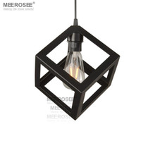 Wholesale Hanging Square Light Fixtures - Square Pendant Lighting Fixture Lustres Black E27 Lamparas American style Hanging Suspension Drop Light for Dining room