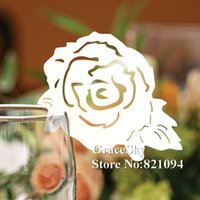 paper cutting shapes NZ - 60PCS Free Shipping Laser Cutting Flower Rose Paper Wine Glasses Place Seat Name Card Butterfly Shaped for Paper Wedding Party Decorations