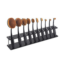 Wholesale Wood Makeup Organizer - 10pcs Toothbrush Oval Makeup Brushes Display Holder Stand Storage Boxes Organizer Curve Brush Showing Rack Mermaid
