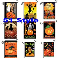 Wholesale 30 cm Halloween Garden Flags Pumpkin Ghost Party Home Decor Outdoor Hanging Polyester Garden Flags Halloween Decorations WX9