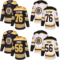 Wholesale Cheap Cross Stitching - 2017 New Brand Adults Boston Bruins 56 Tommy Cross 76 Connor Clifton Best Quality Cheap Stitched Black White Ice Hockey Jersey Accept Custom