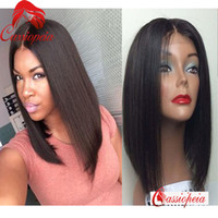 Wholesale Remy Indian Hair Short Wig - 8A Grade Glueless Middle Part Full Lace Virgin Human Hair Short Bob Wigs Indian Remy Human Hair Lace Front Bob Wigs