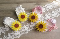 Wholesale Girl Lace Crochet - one hundred days Baby Shoes Flower Little Girls Crochet Shoes Daisy Lace-Up Infant First shoes soft-soled Newborn sandal C1841