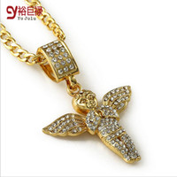 Wholesale Trendy Cool Necklaces - 2016 Fashion Kaulakoru 14K Gold Plated Necklace Men Women Iced Out Bling Full Rhinestone Angel Hip-hop Angel Jewelry Trendy Cool Men