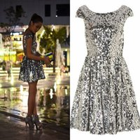 Wholesale Modern Sequined Short Bridesmaid Dresses - Blingbling Silver Gold Sequined Short Cocktail Dresses A Line Jewel Neck Mini Prom Party Party Gowns Cheap Bridesmaid Dresses