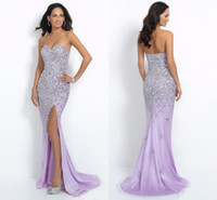 Wholesale Empire Red Sweetheart Mermaid - Sexy Mermaid Prom Dresses Bling Chiffon with Crystal Sweetheart Long Party Evening Gowns Split Side Sweep Train Hot Saling HY00753