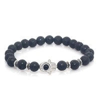 Wholesale Mens Bead Bracelets Wood - 8mm Lava Stone Natural Stone Beads Fatima Hand Hamsa Stretch Elastic Mens Bracelet