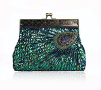 Wholesale Purple Wristlet - New Fashion Vintage Peacock Handmade Beaded Women Evening Bag Lady Sequins Handbag With Handle Luxury Clutch Wallet Purse For Wedding Party