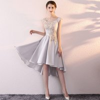 Wholesale Plus Size High Low Shirt - SSYFashion New Short Evening Dress The Bride Banquet Elegant Grey Satin Lace Appliques High low Formal Party Gown Robe De Soiree