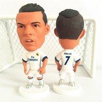 Wholesale Cartoon Plastic Fan - Soccerwe Real Madrid 2016-17 Season Football Star 7 Cristiano Ronaldo Doll La Liga Fans Collections White Jersey Color 2.55 Inches Resin