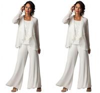 Wholesale Elegant Suits Fashion Set - Ivory Elegant Chiffon Plus Size 3-Piece Tiered Ruffled Pant Suit Set 2016 new fashion Women's Long Sleeve Cheap Formal Evening Pant Suits