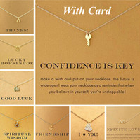 Wholesale Necklaces Anchor Pendants - With Card Dogeared Alloy Key Star Infinity Anchor Drop 18K Gold Shorts Clavicle Chains Fashion Necklaces & Pendants Wholesale