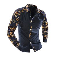 Wholesale Camisa Casual Slim Fit - Luxury Men Shirt Cotton Long Sleeve M~XXL Famous Brand Shirt Mens Floral Shirts Black Slim Fit Men's Clothing Camisa 2018 Chemise