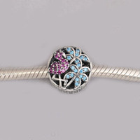 Wholesale Colored Crystal Bead Bracelets - Real 925 Sterling Silver Tropical Flamingo, Light Green Crystals & Multi-Colored CZ Charm Beads Fit Bracelet Diy Jewelry Making