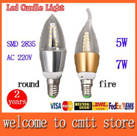 Wholesale Corn Type E27 Lamps - x10 free shipping 5w 7w Led Candle light E14 E27 SMD 2835 Led lamp AC220V round fire type 360 beam angle 2 years warranty