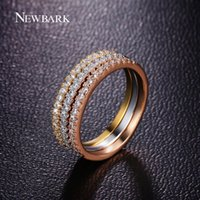 NEWBARK Vintage Round Shape 3 Laps Ring Set Модные кольца для женщин Розовое золото Цвет Love Tiny Paved Cubic Zircon Stone Jewelry